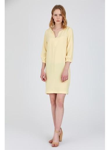V Yaka Midi Elbise-Setre